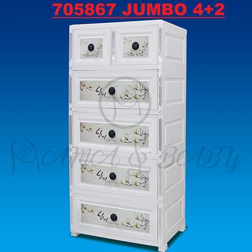 4+2 JUMBO HANDLE DRAWERS WHITE TREE FLOWER 705867
