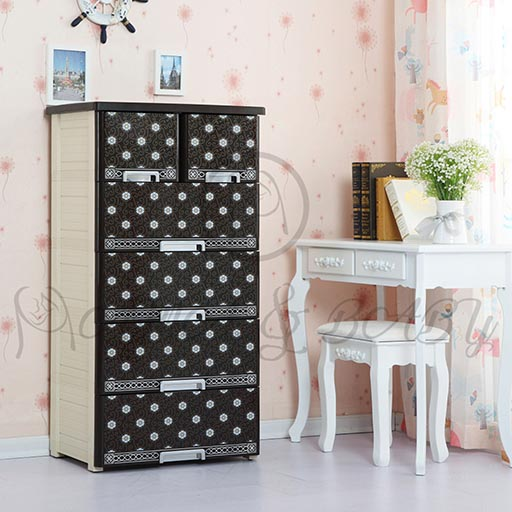 4+2 DRAWER HOT FLOWER COFFE BROWN NA-585852