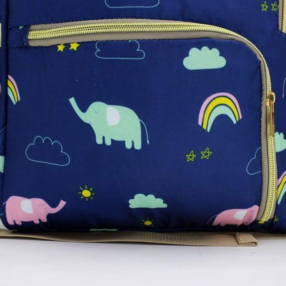 DIAPER BAG BACKPACK BLUE PRINT RAINBOW