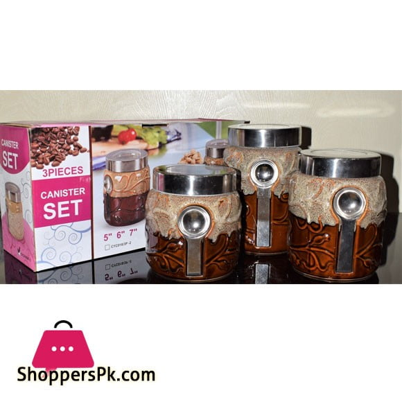 Ceramic Canister Set with Magnet Spoon 3 Pieces