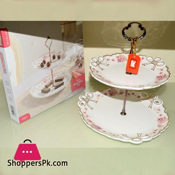 Goldkish Porceline 2 Tier Cake Stand Cupcake Stand