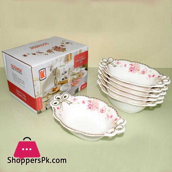 Goldkish Porceline Serving Bowls 6 Piece Set 7 Inch