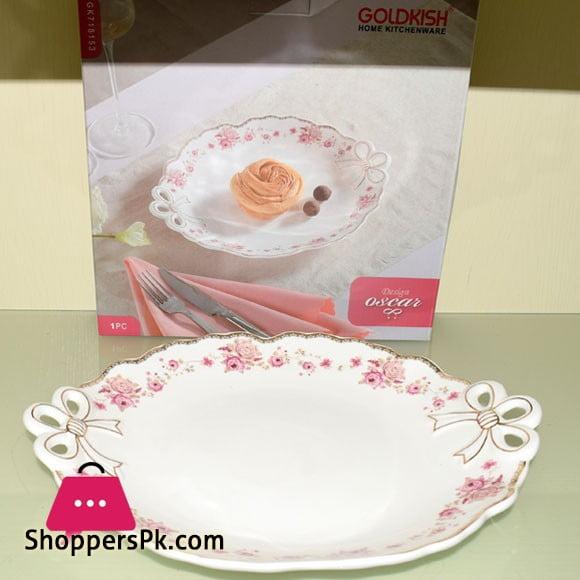 Goldkish Porceline Serving Dish Flat Round 12 - Inch