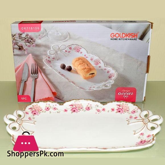 Goldkish Porceline Serving Plate Flat Rectangle 16 - Inch