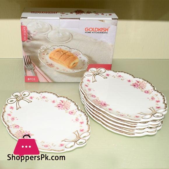 Goldkish Porceline Serving Plates 6 Piece Set 8 Inch
