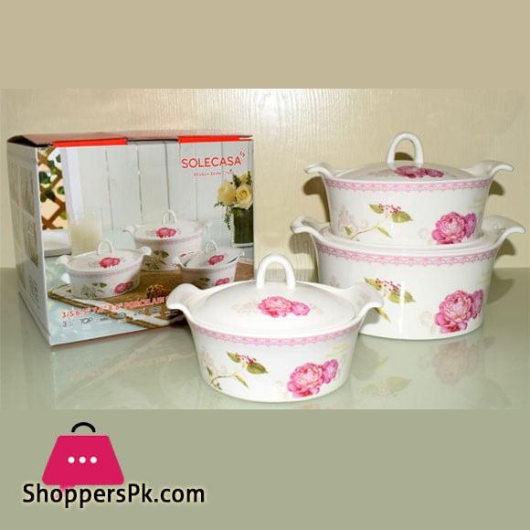 Solecasa Casserole Set With Ceramic Lids - Printed - Set Of 3
