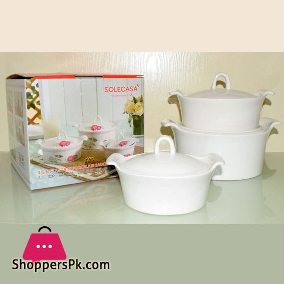 Solecasa Casserole Set With Ceramic Lids - White - Set Of 3