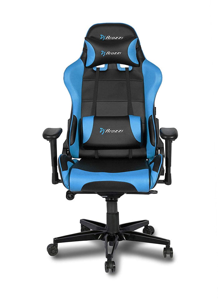 Arozzi Verona V2 Advanced Racing Style Gaming Chair with High Backrest, Recliner, Swivel, Tilt, Rocker and Seat Height Adjustment Blue