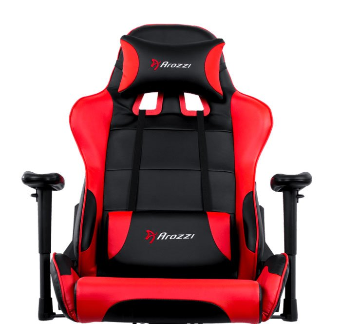 Arozzi Verona V2 Advanced Racing Style Gaming Chair with High Backrest, Recliner, Swivel, Tilt, Rocker and Seat Height Adjustment Red
