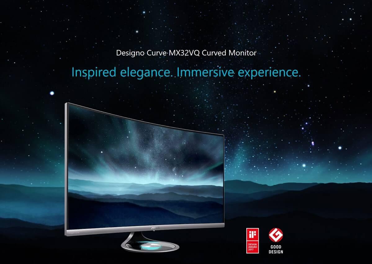ASUS Designo Curve MX32VQ Curved 32″ Monitor – New
