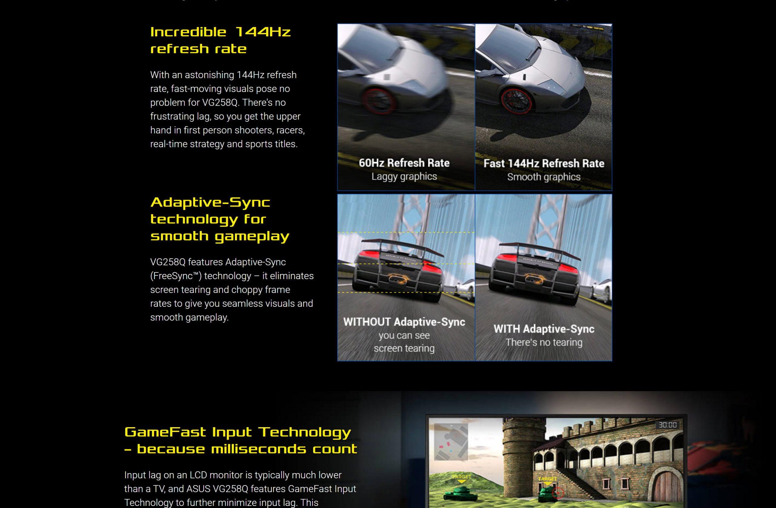 "ASUS VG258Q Gaming Monitor – 24.5"", Full HD, 1ms, 144Hz, G-SYNC Compatible, Adaptive-Sync – New"