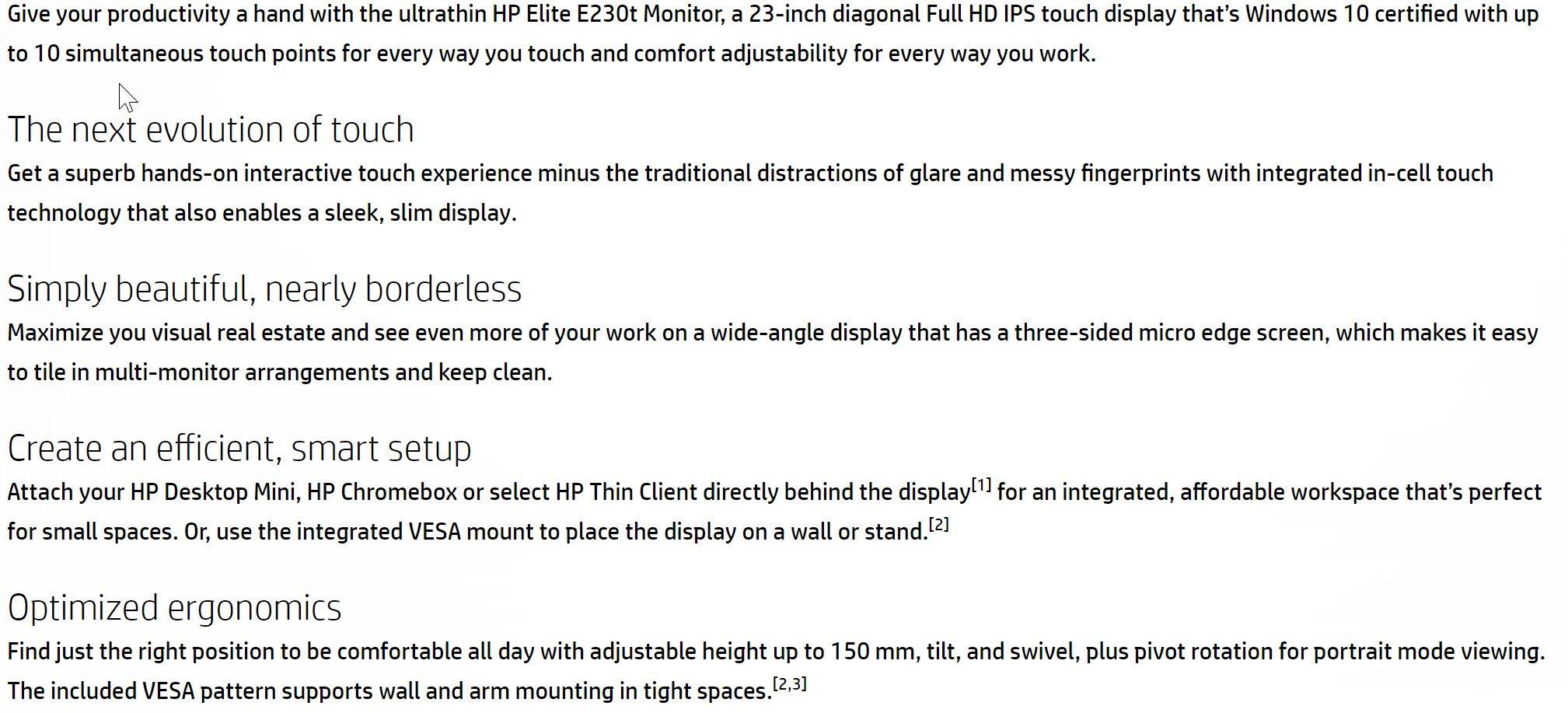 HP EliteDisplay E230t 23-inch Touch Monitor (W2Z50AA) – New