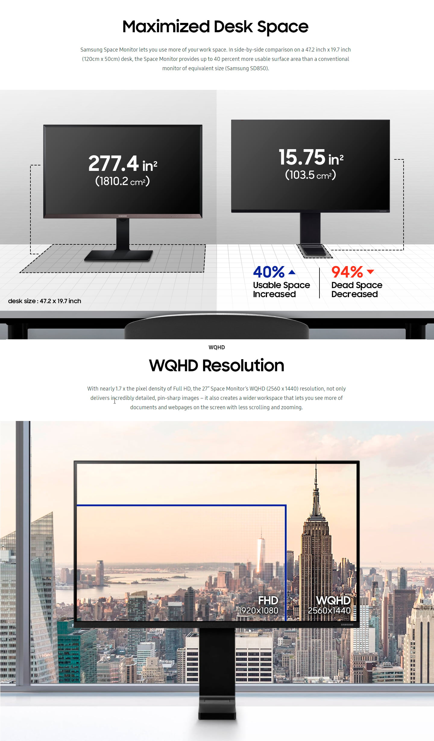 Samsung 27″ SR75 144hz WQHD LED Space Monitor – Open Box
