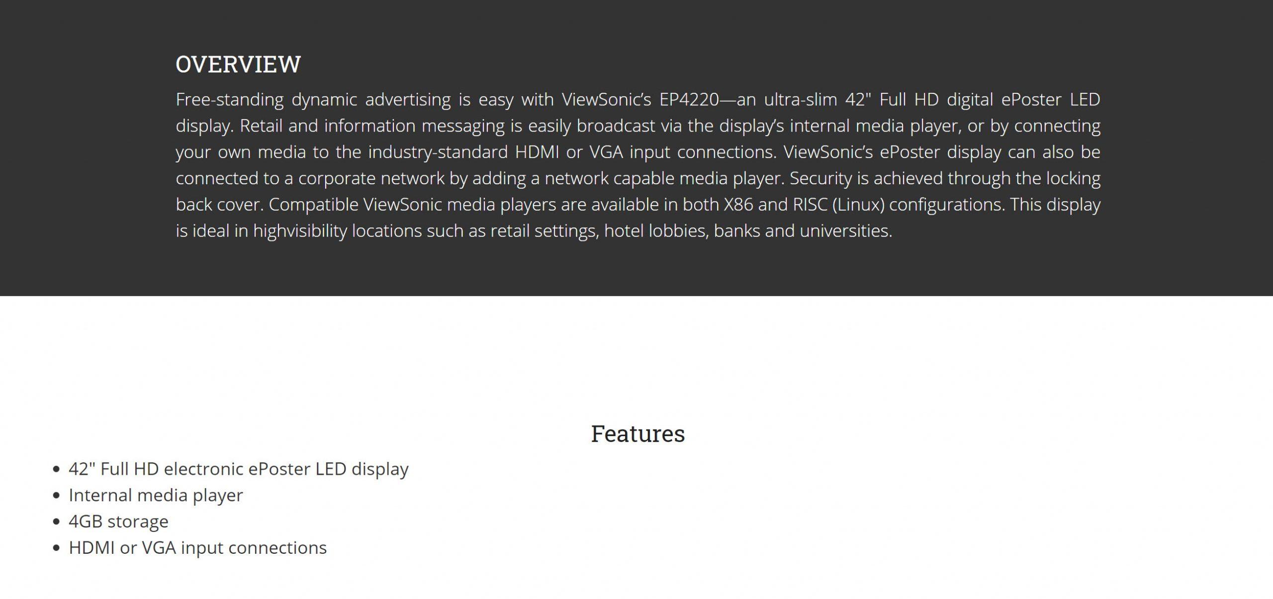 ViewSonic EP4220 42″ Ultra-Slim Full HD Digital ePoster LED Display – New