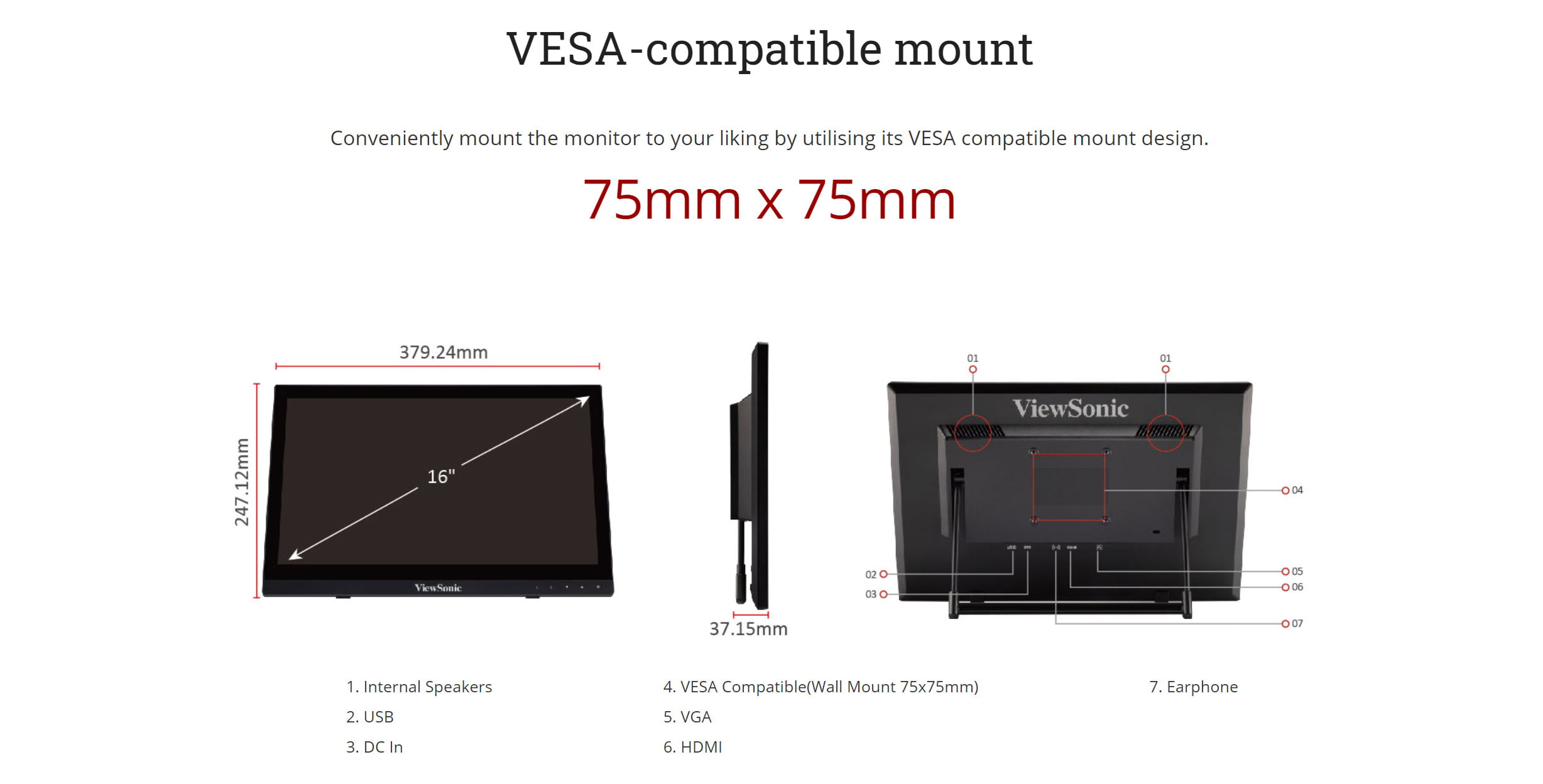 """ViewSonic TD1630-3 – 16"""" 10-Point Touch Screen Monitor- New"""