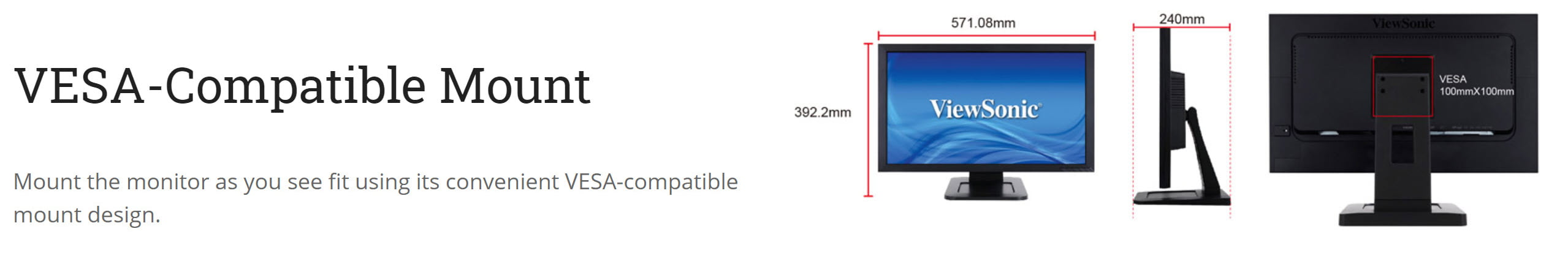 ViewSonic TD2421 24″ 2-point Touch Screen Monitor – Open Box