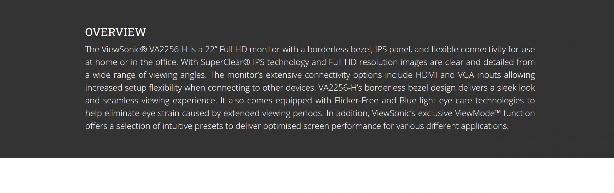 ViewSonic VA2256-H 22″ 1080p Home and Office Monitor – New