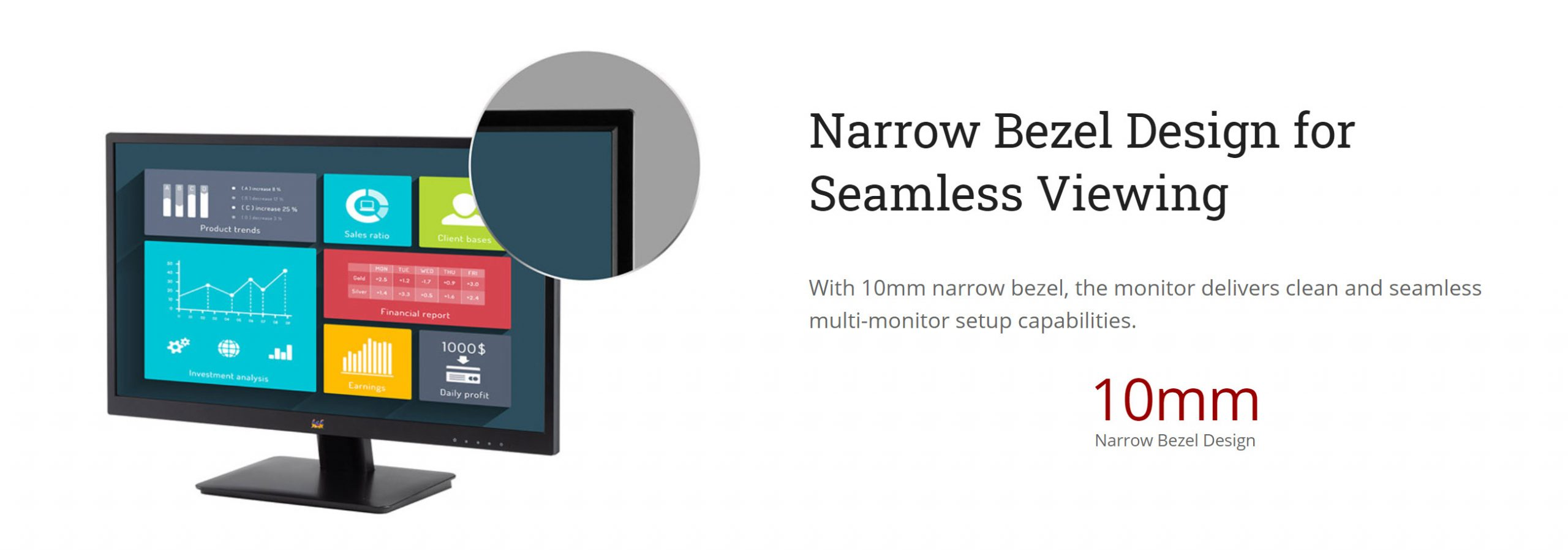 ViewSonic VA2410-mh, 24″ 1080p Home and Office Monitor, IPS, Narrow Bezel – New