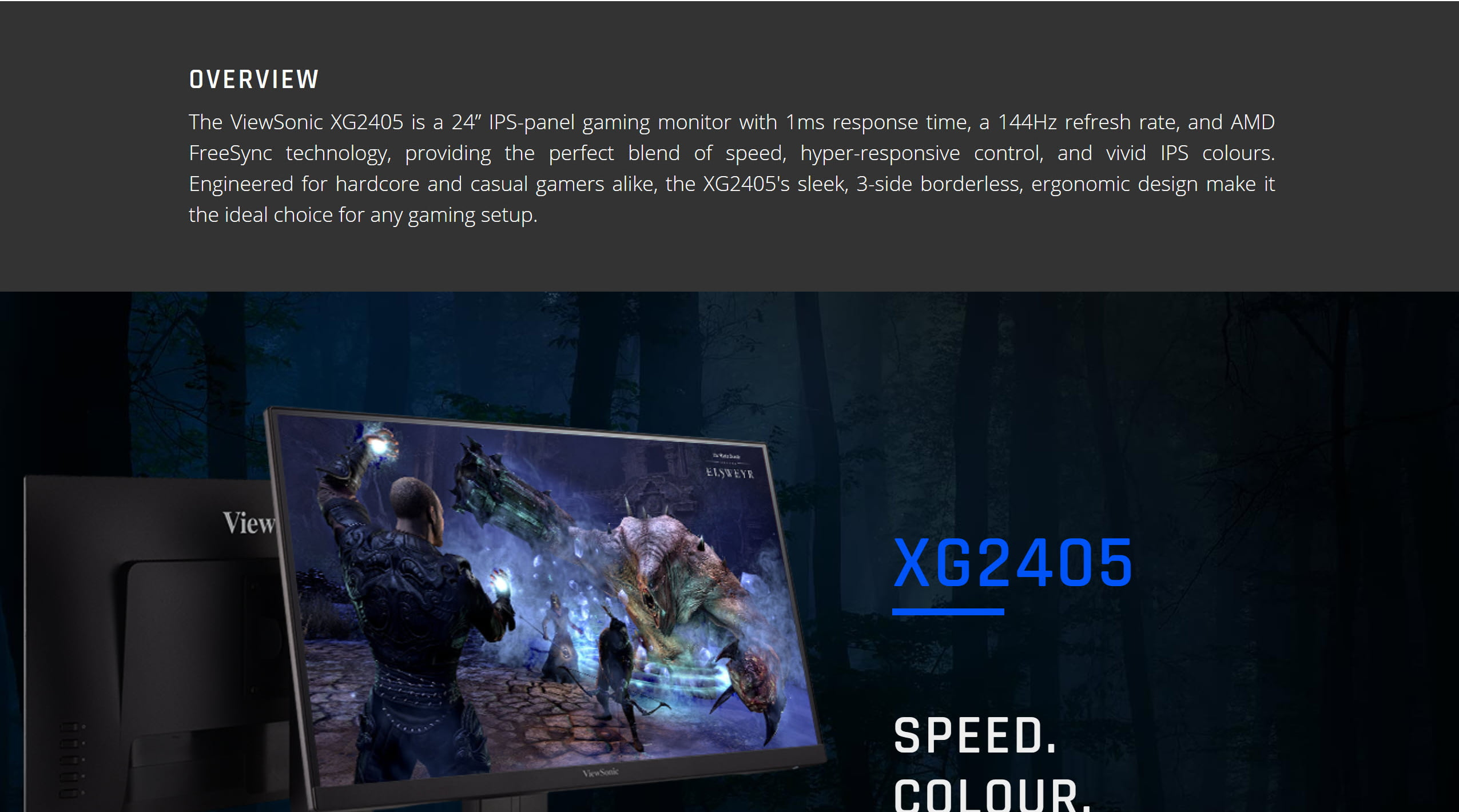 ViewSonic XG2405 24″ 144Hz Gaming Monitor IPS AMD FreeSync FHD – New
