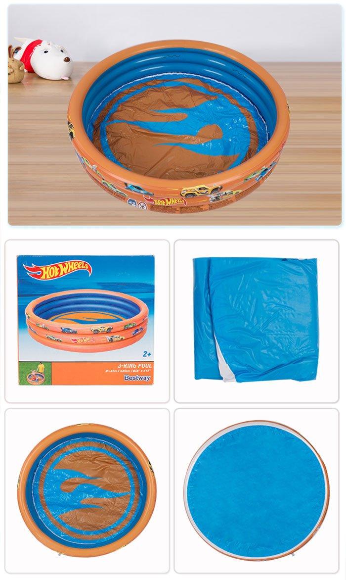 Bestway Hot Wheels Childrens 3-Ring Paddling Pool 4 Feet x 10 Inch #93403
