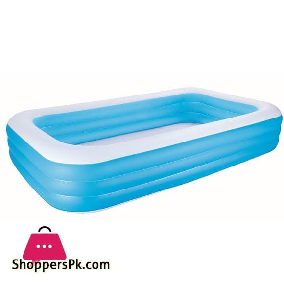 Bestway Rectangular Blue Family Pool Deluxe- 3.05m x 1.83m x 56cm #54009