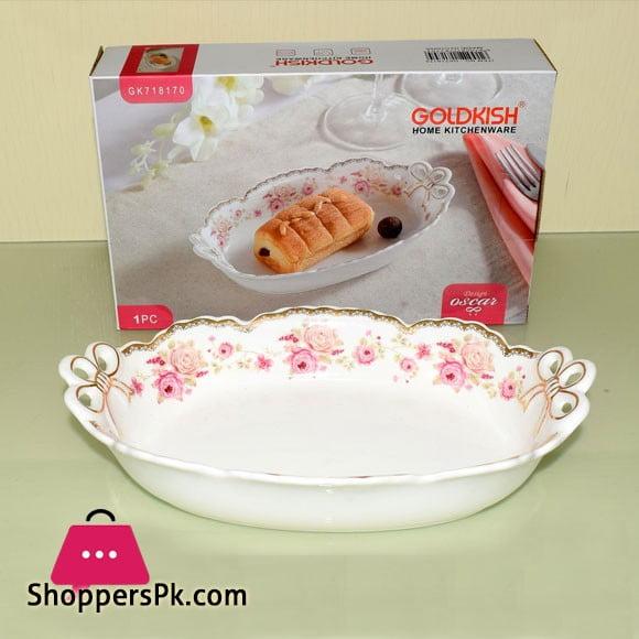 Goldkish Porceline Serving Dish Deep Oval 14 - Inch
