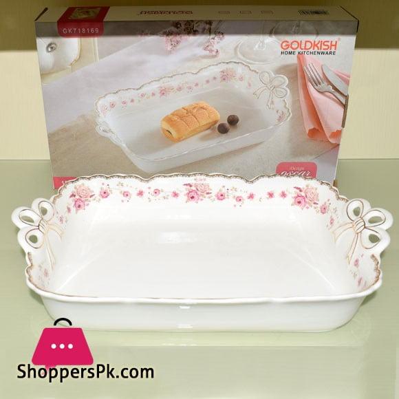 Goldkish Porceline Serving Dish Deep Rectangle 14 - Inch