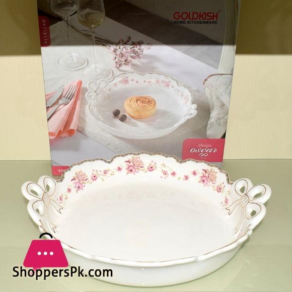 Goldkish Porceline Serving Dish Deep Round 12 - Inch