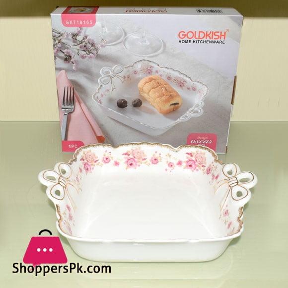 Goldkish Porceline Serving Dish Deep Square 10 - Inch