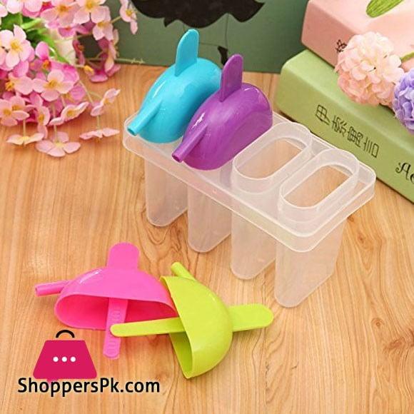 Ice Pop Candy Lolly Popsicle Kulfi Maker Mould Set of 4 Pcs