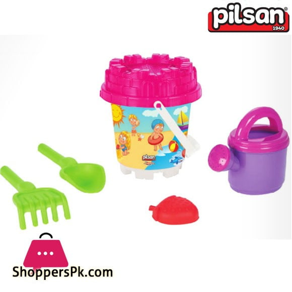 Pilsan Mini Castle Sand Bucket Set with Water Can Turkey Made 06-023