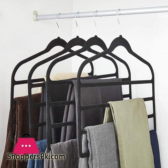 Velvet Hanger 4 Layers Trouser Hanger 360 Rotating Chrome Hook 45 x 33 CM