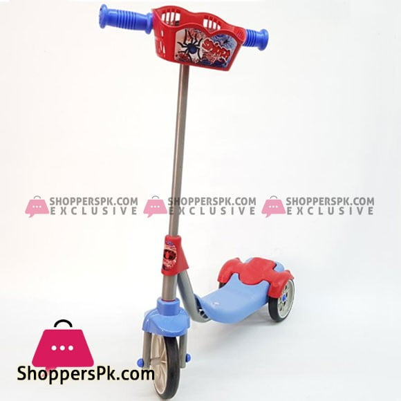 Spiderman 3 Wheel Metal Scooter with Basket Turkey Made FR58314