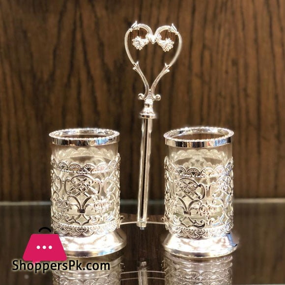 2 x Silver Plated Cutlery Holder for Modern Kitchen & Dining Table