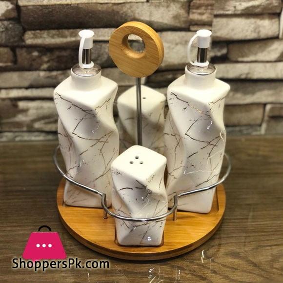 Ceramic Marble Design Salt & Pepper Shaker Set 4 Pcs Sauce Set