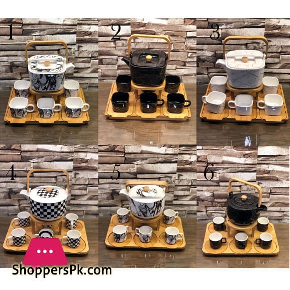 Ceramic Tea Set with Wooden Tray & Saucers