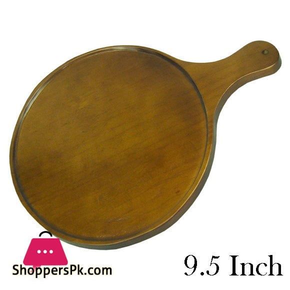 Elegant Wooden Paddle Pizza Tray Round 9.5 Inch - EH0098