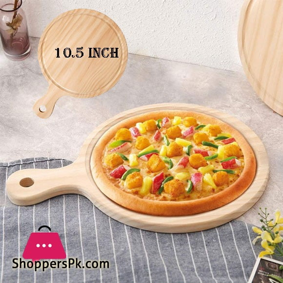 Elegant Wooden Round Pizza Plate Tray with Handle 10.5 Inch - EH0095
