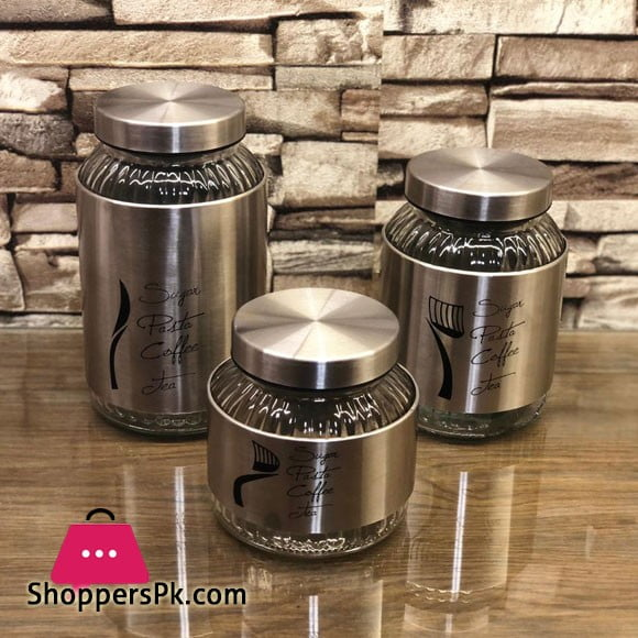 High Grade Stainless Steel Canister Sets Food Coffee Tea Storage Jar 3 Pcs