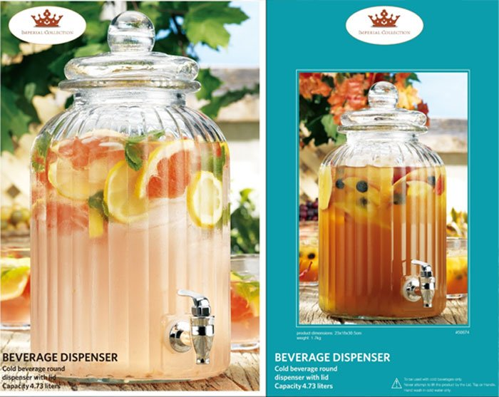 Imperial Collection Beverage Dispenser with Lid Round Glass 4.73 Liter