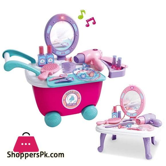 Kids Make Up Set 2-in-1 Vanity Dressing Table Play Set (36 pcs)