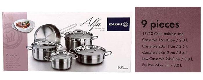 Korkmaz Alfa Cookware Set of 9 Pieces - A1660