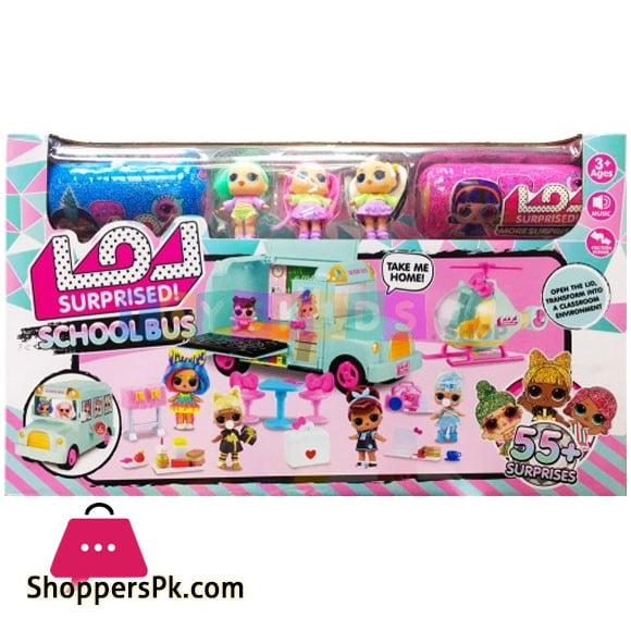 LOL School Bus + Helicopter with 3 Dolls 2 Capsules and other Accessories K5631