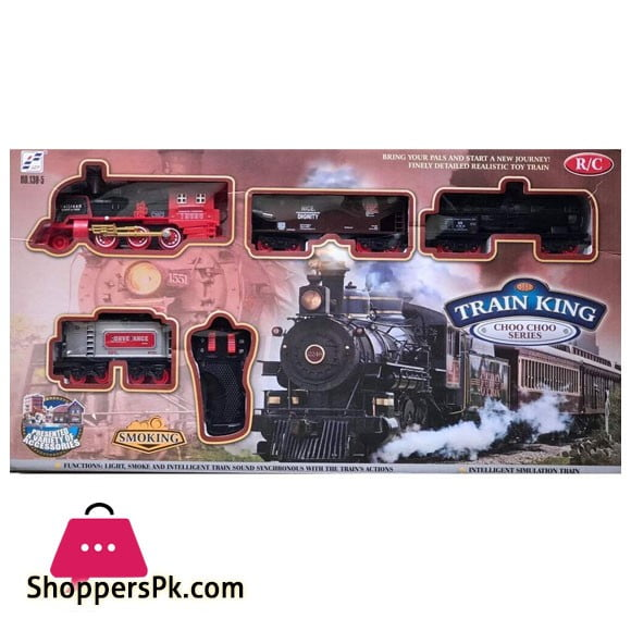 Remote Controlled Train and Track Set with Real Smoke Sound and Light