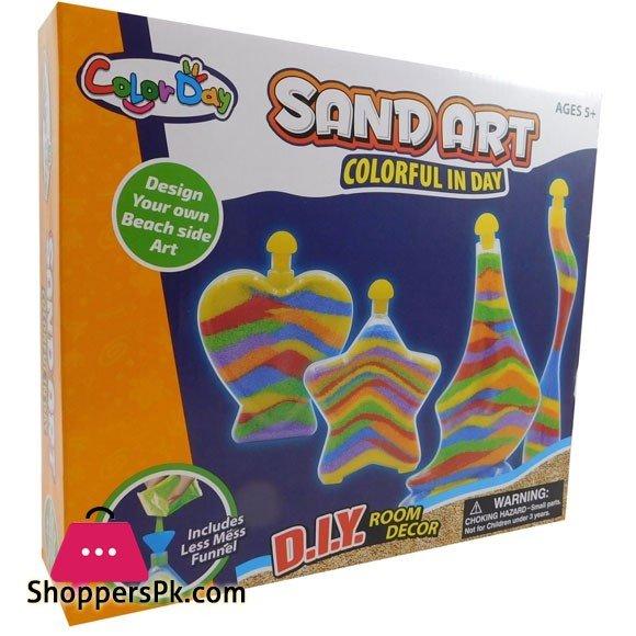 Sand Art Bottle Kids Craft DIY Hobby Creative Toys With Sand And 4 Stylish Bottles