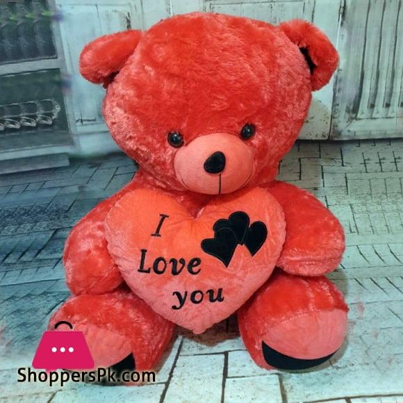 Stuff Teddy Bear Love Heart Shape Cushion 3 FeeT N34