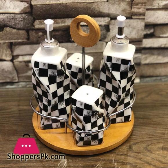 Checkered Design Salt & Pepper Shaker Set 4 Pcs Sauce Set