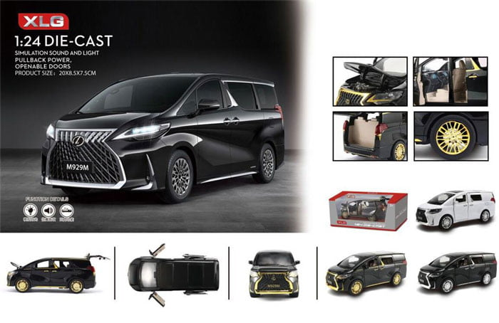1/24 Luxury Lexus LM300 MPV Model Toy Car Alloy Die-Cast M929M Simulation Light Sound Pull Back Collection Toys Car