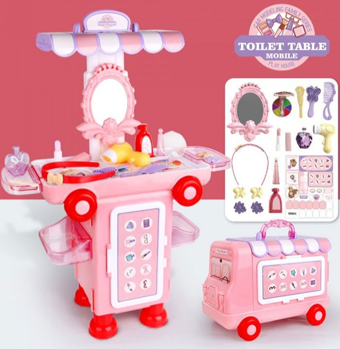 2 IN 1 Pretend Play House Toilet Table Mobile Makeup Beauty Cartoon Bus