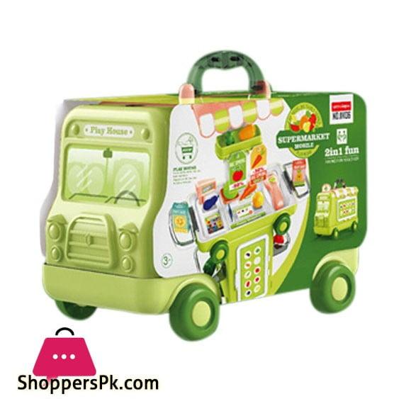 2 IN 1 Pretend Play House Super Market 37 Pcs Cartoon Bus